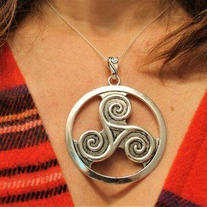 New Celtic Triskelion Swirl Pendant Necklace Large